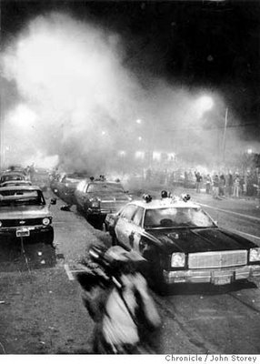 White Night Riot protesters burned police cars in front of City Hall. Chronicle photo by John Storey, 1979.jpg